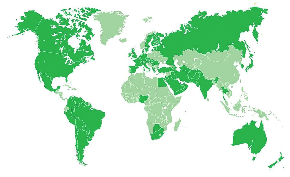 نقشه کشورهای فعال در زمینه هومیوپاتی